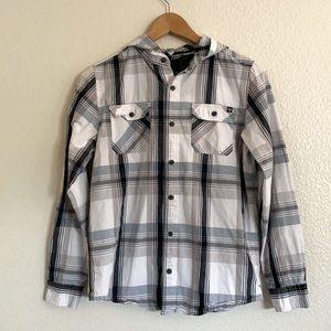 Shaun White Plaid Button-Up Shirt Hoodie Size L